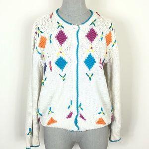 Vintage Cardigan Embroidered Sweater Grandma